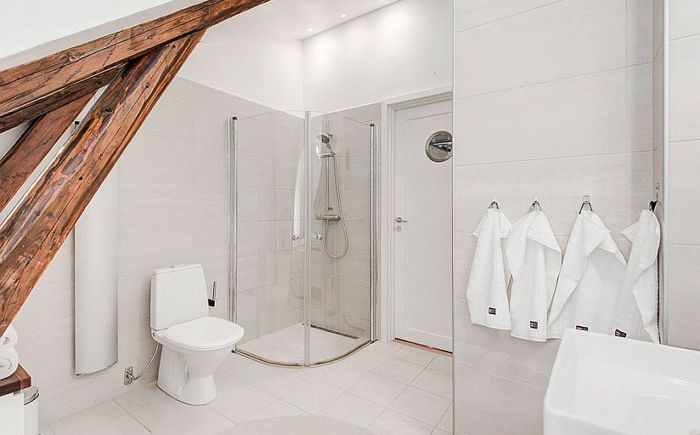 Просторная ванная с душевой кабиной