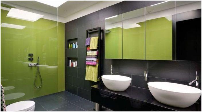Зелен цвят в интериора на банята