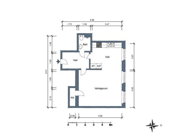 Разположението на апартамента е 44 квадратни метра