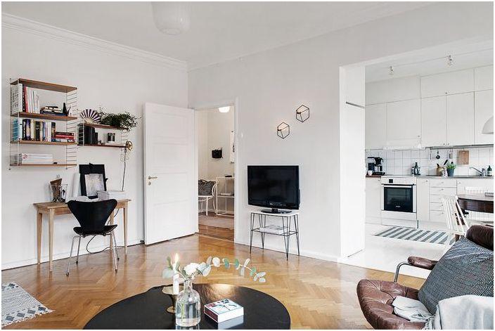 Интериор на малък шведски апартамент