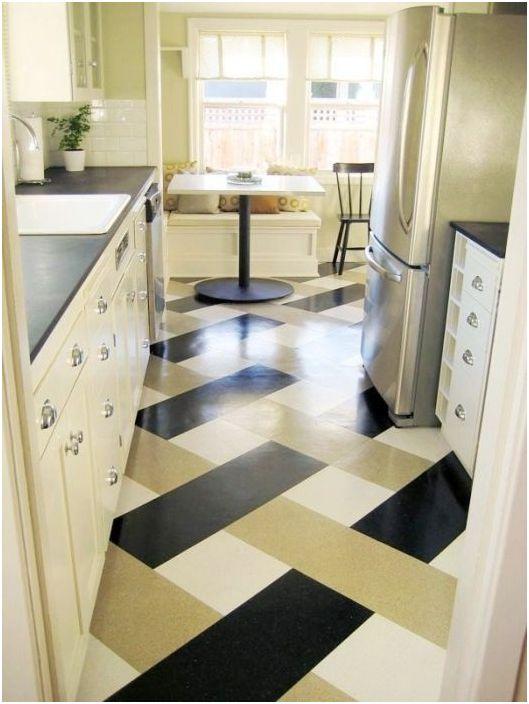 Линолеум в интериора на кухнята