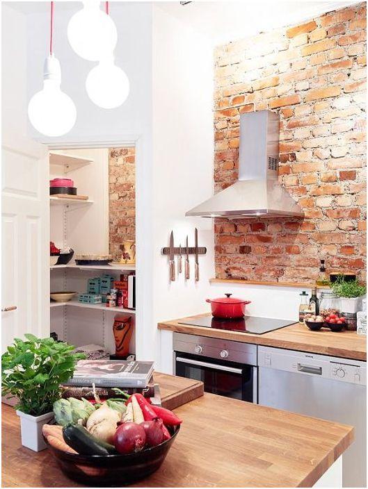 Тухла като декорация на кухненския интериор