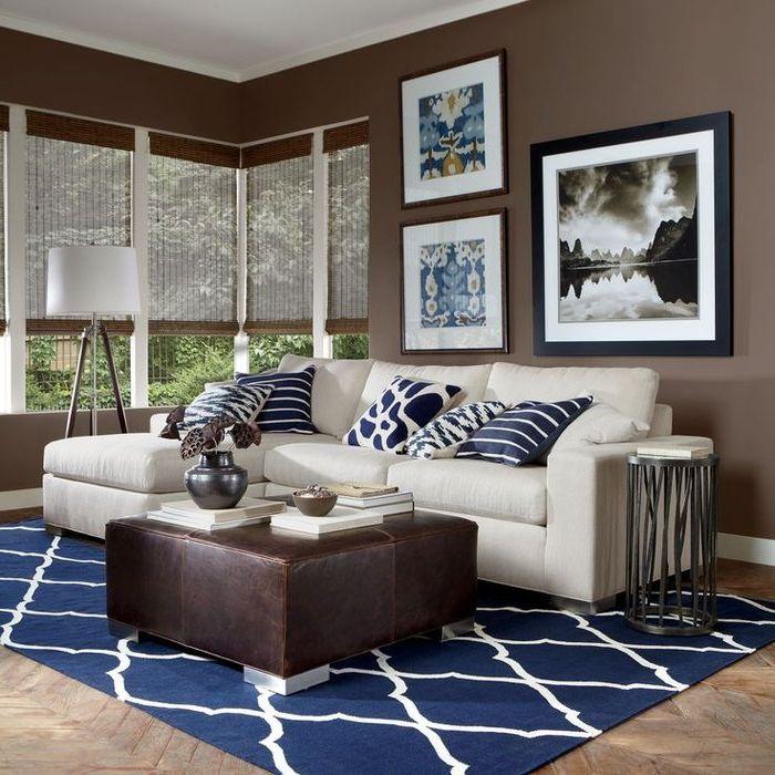 Коричневый и синий в дизайне интерьеров