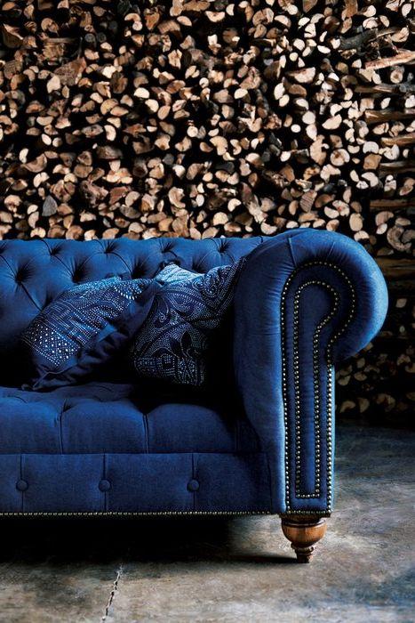 Благородное сочетание синего и коричневого