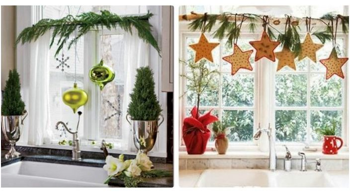 Нова година прозорец декор
