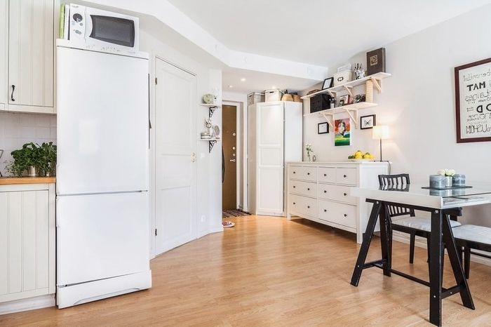 Ъгъл ритна във вътрешността на малък апартамент