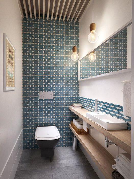 Сини плочки в интериора на банята
