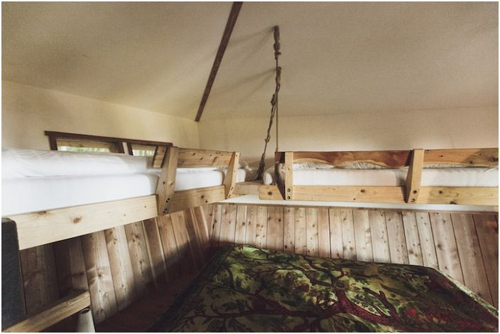 Robin & rsquo; s Nest Treehouse Hotel. Domek na drzewie dla kilku wczasowiczów.
