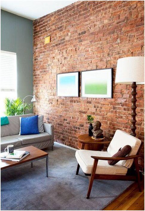Murverk i det indre av stuen