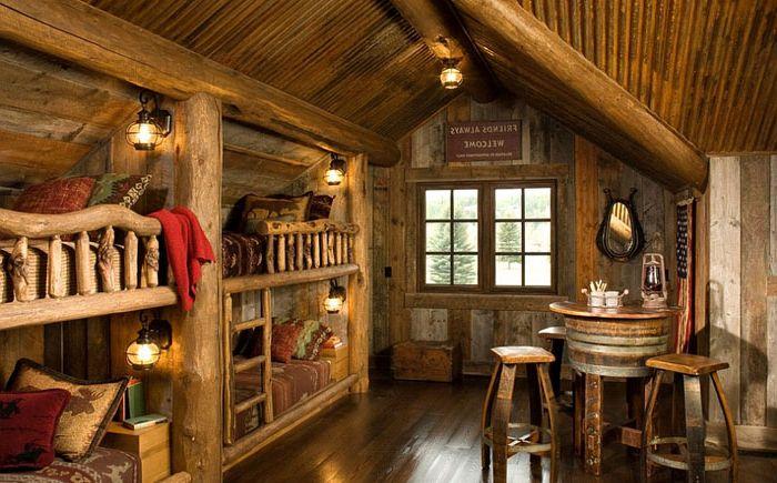 Селски интериор на спалнята от Монтана Билд