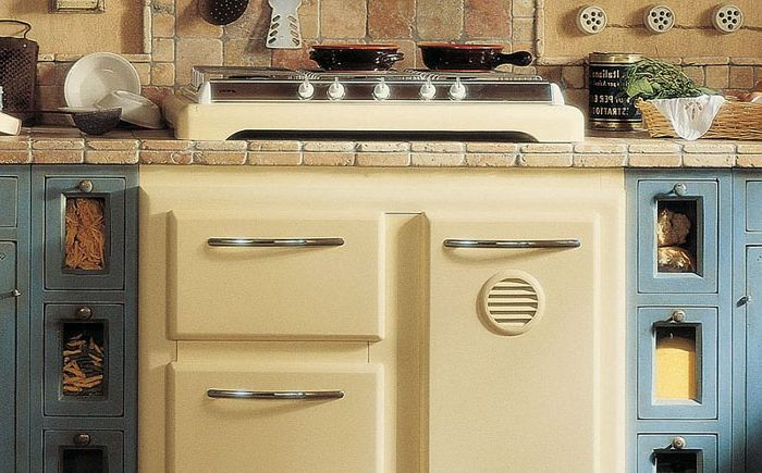 Refrigerator and stove disguised as bedside tables