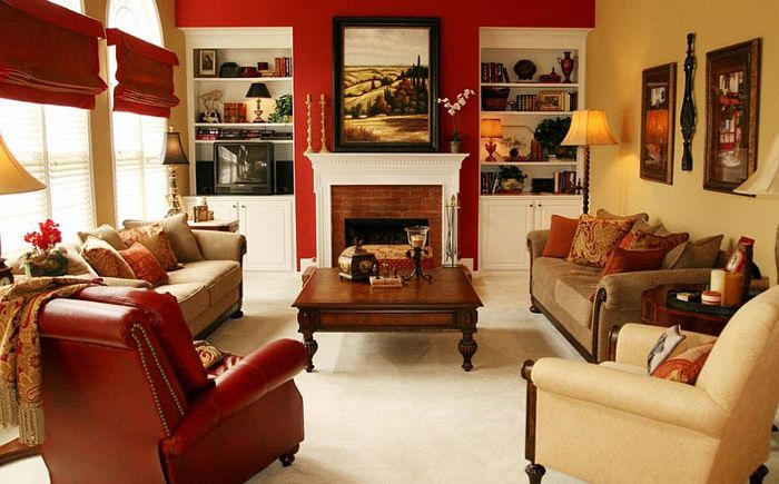 The magic of red in the living room interior