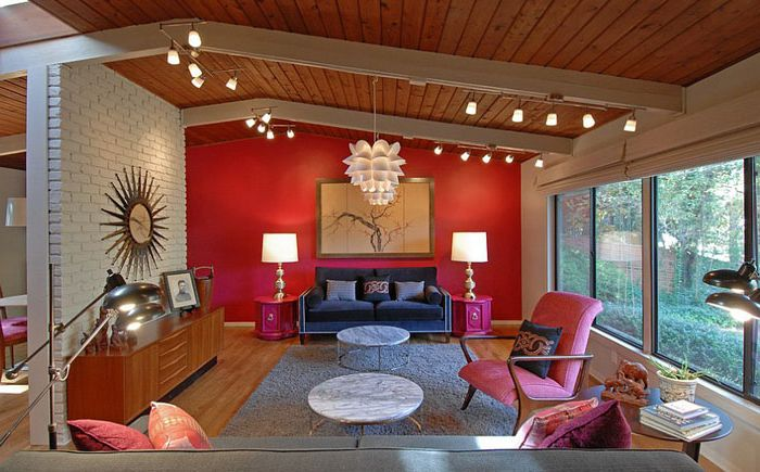 Red and hot pink in the living room by Brian Patterson Designs
