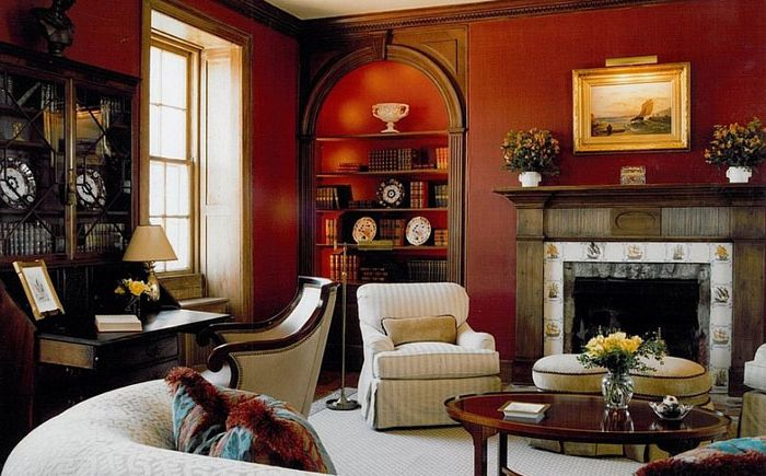 Classic living room in red
