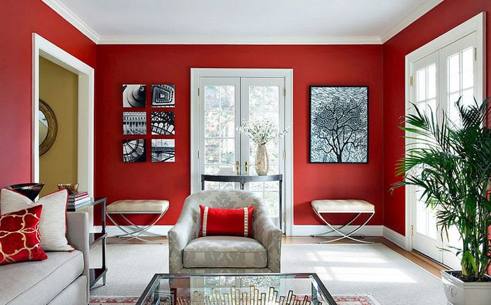 Red and white living room by Clean Design
