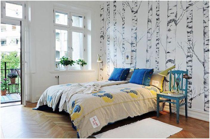 Naturlige motiver på det skandinaviske soverommet