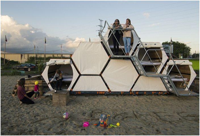 B-and-Bee - honeycomb-like sleeping cells.