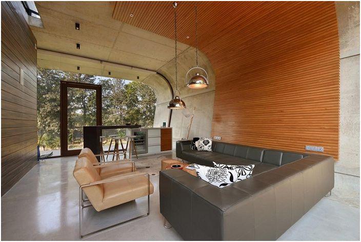 Minimalistyczne wnętrze w Pool House.