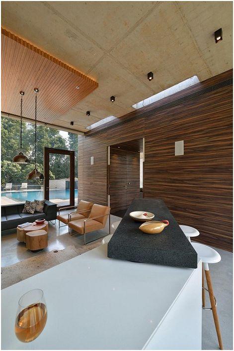 Dom przy basenie. Salon.
