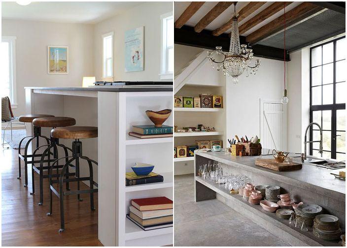 Åpne hyller på kjøkkenøya
