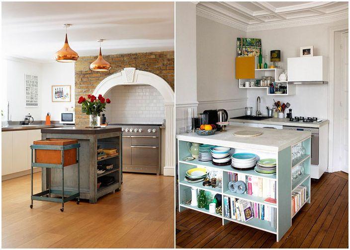Liten kjøkkenøy med åpne hyller