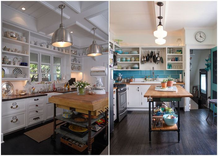 кухонный остров - стол в индустриальном стиле