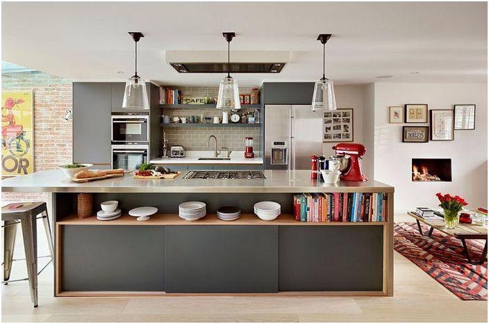 Kjøkkenøy i grå nyanser