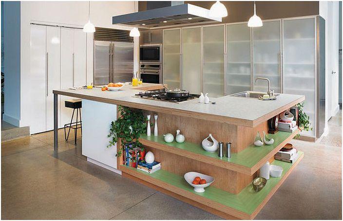 Ergonomisk kjøkkenøy med åpne hyller