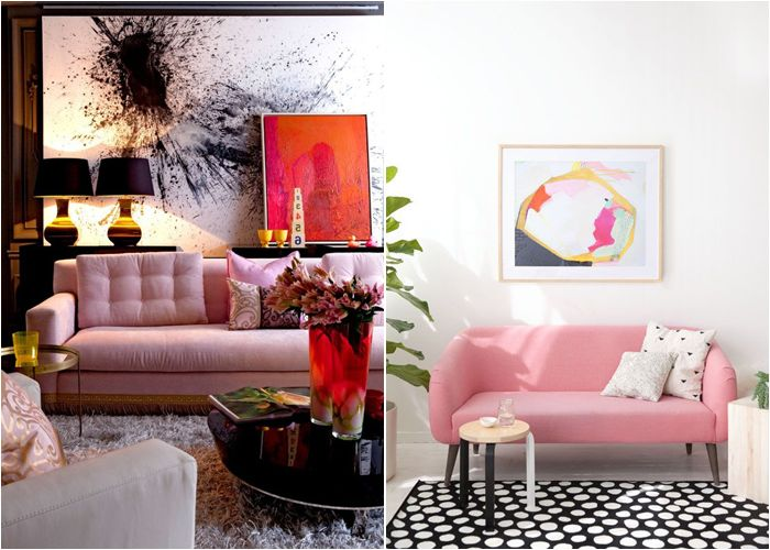 Диван в нежно-розовых тонах