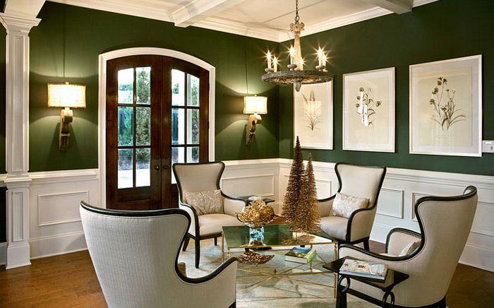 Очарование зелёного: 15 потрясающих гостиных