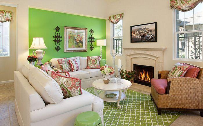 Современная гостиная в зелёных тонах