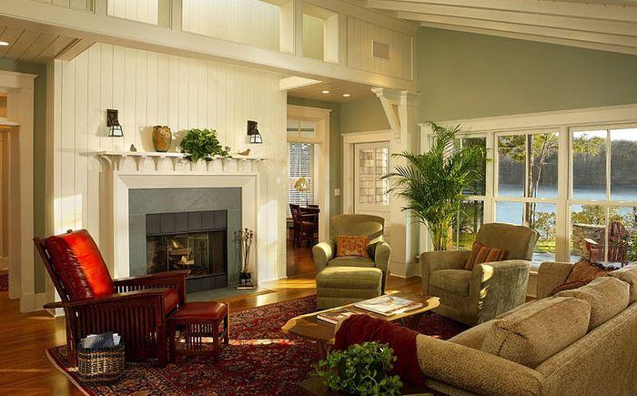 Уютная гостиная в светло-зелёных оттенках