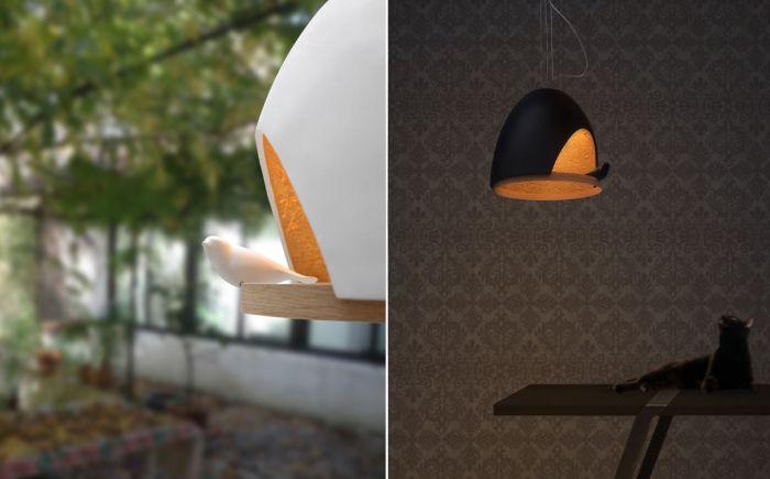 Стильная лампа, ставшая домом для птицы.