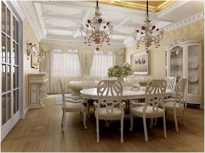 La pièce lumineuse est complétée par une couleur ivoire et deux lustres chics, ce qui la rend plus magnifique.