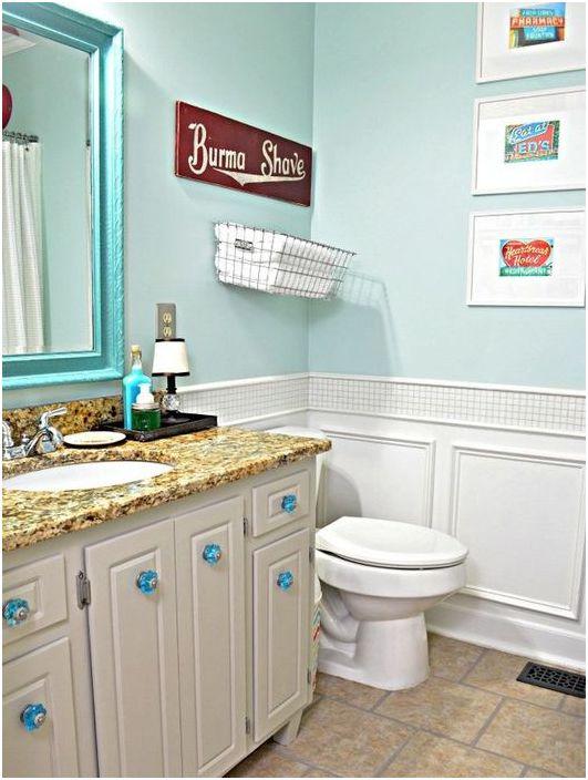 Боядисани стени в интериора на банята