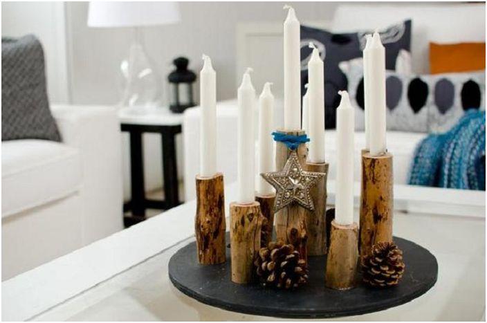 Дървото е благороден материал, от който се правят много стилни, ефектни свещници.