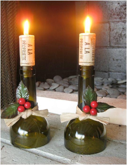 Чифт ярки акценти ще придадат на свещника на бутилката ефектност и оригиналност.