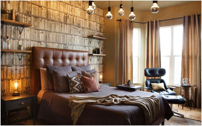 Луксозна еклектична ергенска спалня, реновирана