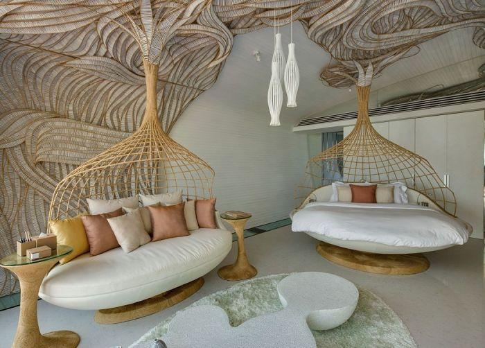 Къща на плажа Инияла. Оригинален дизайн с бамбукови тъкания.