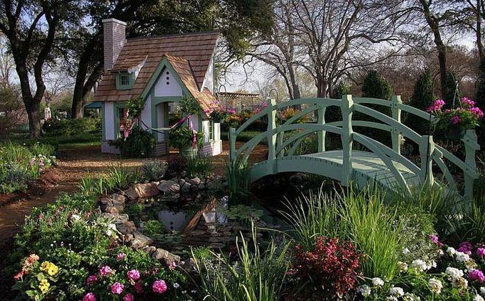 Градински пейзаж: 25 поразителни идеи за изграждане на мост