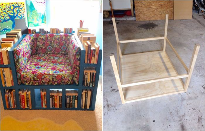 Най-удобното кресло за любителите на книги го направете сами