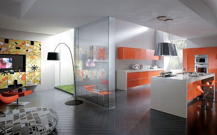 Оранжев цвят в интериора на кухнята и хола