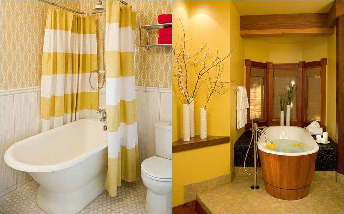 Слънчево луксозно жълто: ново обзавеждане на интериора за банята
