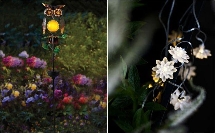 Слънчеви декорации в нощната градина