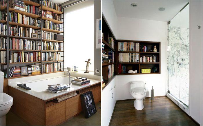 Bibliothèque dans la salle de bain