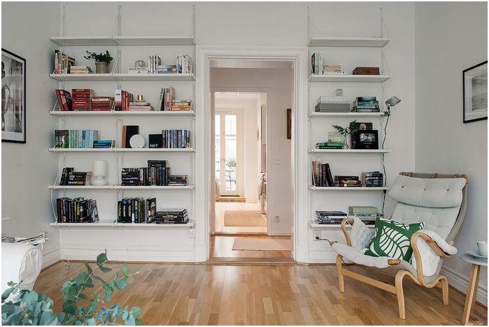 Домашна библиотека, без да използвате рафт или специален шкаф