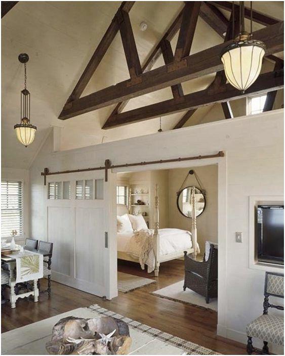 Отличен дизайн на спалня с интересен интериор в светли цветове.