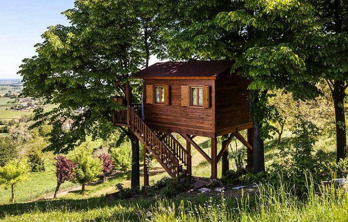 Aromatica Treehouse est une cabane dans les arbres dans la vallée fleurie italienne.