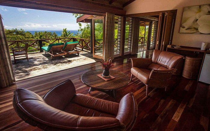 Taveuni Treehouse est une maison située dans une plantation de noix de coco aux Fidji.