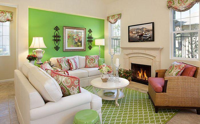 Зелёная гостиная от Borden Interiors & Associates
